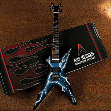 Lightning Bolt Signature Model (Miniature Guitar Replica Collectible). Accessory. Hal Leonard #DD-001. Published by Hal Leonard.  Each 1:4 scale ornamental replica guitar is individually handcrafted with solid wood and metal tuning keys. Each guitar model is approximately 10″ in length and comes complete with a high-quality miniature adjustable A-frame stand and guitar case gift box.  Axes Heaven Miniature Replicas look great, but are not playable.