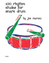 100 Rhythm Etudes for Snare Drum by Maroni, Joe. For Snare Drum. Percussion Music - Snare Drum Method/Studies. Southern Music. 52 pages. Southern Music Company #B564. Published by Southern Music Company.  100 Rhythm Etudes for Snare Drum is designed to help fill the gap between the intermediate and advanced levels of snare drum playing. One hundred short snare drum etudes are included, each one utilizing at least one of the 26 rudiments of drumming. These etudes are presented in several different time signatures with suggested metronome markings.