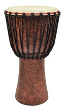 12 inch African Djembe - Master Terra Cotta Series tycoon. Hal Leonard #TAJ-12TC. Published by Hal Leonard.  • Handcrafted from a single piece of sun-dried Ghanaian Hardwood  • Distinct finishes  • Deep, loud bass tones and high, sharp slap tones  • Special finishing procedures applied to Terra-Cotta Series to create their unique rugged texture  • 5mm extra strong non-stretch rope for ease and lasting tuning  • Natural varnish finishing.