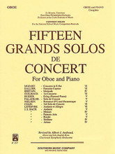 15 Grands Solos de Concert for Oboe and Piano (Oboe Collection). Arranged by Albert Andraud. For Oboe. Woodwind Solos & Ensembles - Oboe Collection. Southern Music. Grade 4. 140 pages. Southern Music Company #B107. Published by Southern Music Company.  A significant repertoire collection for the advancing oboe player/student. Includes works by: Mozart * Dallier * Bertain * Guihaud * Busser * Paladilhe * Neilsen * Colin * Lefebvre*  and Johann Sebastian Bach.