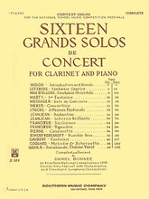 16 (Sixteen) Grand Solos De Concert (Woodwind Solos & Ensemble/B-flat Clarinet Collection). Edited by Daniel Bonade. For Clarinet. Woodwind Solos & Ensembles - B-Flat Clarinet Collection. Southern Music. Classical. Grade 5. Set of performance parts. 109 pages. Southern Music Company #B109. Published by Southern Music Company.  Former Clarinet soloist with both the Philadelphia and Cleveland Orchestras, Daniel Bonade, compiled this repertoire rich collection that incorporates many of the most performed solo repertoire for the clarinet.