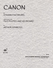 Canon (Woodwind Solos & Ensemble/Flute Duet). By Johann Pachelbel (1653-1706). Arranged by Arthur Ephross. For Flute Duet (Flute). Woodwind Solos & Ensembles - Flute Duet. Southern Music. Grade 2. 20 pages. Southern Music Company #ST741. Published by Southern Music Company.