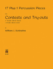17 + 1 Percussion Pieces by William J. Schinstine. For Snare Drum. Percussion Music - Snare Drum Method/Studies. Southern Music. Grade 3. 32 pages. Southern Music Company #B226. Published by Southern Music Company.  Seventeen solos and one duet for the advanced snare drummer. Includes: Eastman Etude • Exploring the Unknown • Innovation in 2/4 • Like Cool • Rhythm Rampage • Rudimental Rondo • Soliloquy • A Switch in Time (snare duet) • Synco-Stix • The Boss • and more.