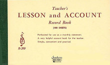 Teacher's Lesson and Account Record Book studio Supplies. Southern Music. 100 pages. Southern Music Company #B200. Published by Southern Music Company.  This helpful accounting record book has assisted thousands of music teachers for decades in the arduous task of handling the accounting aspects of their teaching practice. Simple and easy-to-use! Perforated pages provide handy monthly statement for each student. Contains 100 sheets.