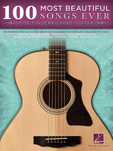 100 Most Beautiful Songs Ever (for Fingerpicking Guitar). By Various. For Guitar. Guitar Solo. Softcover. 408 pages. Published by Hal Leonard.  One hundred timeless songs from a wide variety of musical genres are featured in this collection of solo guitar arrangements in standard notation and tab. Includes: Angel • Bless the Broken Road • Chances Are • Don't Know Why • Faithfully • Hallelujah • I Will Always Love You • Killing Me Softly with His Song • Memory • Stardust • Tears in Heaven • Woman • You Raise Me Up • and many more.