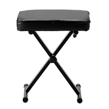 Musician's Bench accessory. General Merchandise. Hal Leonard #47573. Published by Hal Leonard.  This bench is ideal for use with keyboards and other musical instruments. The padded seat measures 12″ x 17″, and the cross brace and metal base provide strong support. It can adjust to three different heights of 18.5″, 19.5″, and 20.5″. The bench folds up for easy carrying and storage.