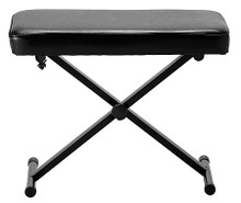 Deluxe Keyboard Bench accessory. General Merchandise. Hal Leonard #47575. Published by Hal Leonard.  Perfect for piano lessons or playing duets, this deluxe keyboard bench can comfortably sit two on its 13″ x 24″ padded seat. The cross brace and metal base provide support, and the bench adjusts to three different heights. The bench also folds up for easy transport and storage.