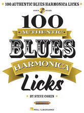 100 Authentic Blues Harmonica Licks for Harmonica. Harmonica. Softcover with CD. 80 pages. Published by Hal Leonard.  If you're just getting started or a veteran looking to add more licks to your arsenal, this book/CD pack is for you. From basic 12-bar blues backing riffs to mojo-packed solo licks, Steve Cohen shares 100 time-tested licks to help you get the most out of your 10-hole diatonic harp. All examples are played on a C harp and are written in standard notation and harmonica tab. The CD contains demonstration tracks for all of the licks – many with play-along tracks. Includes: cross harp and straight harp licks; boogie-woogie licks; stop-time licks; ascending & descending licks; funk licks; shuffle licks; horn-adapted licks; glissandro licks; octave licks; warble licks; over-blowing chromatic licks; turn-arounds and endings. Also include many riffs in the styles of Sonny Boy Williamson II * Little Walter * Howlin' Wolf * Jimmy Reed * James Cotton * and more!