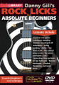 Rock Licks for Absolute Beginners for Guitar. Lick Library. DVD. Guitar tablature. Lick Library #RDR0463. Published by Lick Library.  This superb DVD includes a selection of easy to absorb lessons that are designed to teach the beginner guitarist some of the essential basics of ROCK guitar playing.  Over the course of this DVD you will learn some essential lead guitar techniques such as string bending, hammer on and pull off, sliding, and vibrato that can also be other styles of guitar playing from jazz to metal. This DVD includes essential rock guitar techniques including: Hammer-on and pull-off techniques • String bending • Slides • The blues scale • The natural minor scale • The minor pentatonic scale • Connecting these patterns on the fretboard • Natural harmonics • Pinched harmonics and much more.