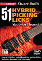 "51 Hybrid Picking Licks You Must Learn for Guitar. Lick Library. DVD. Guitar tablature. Lick Library #RDR0448. Published by Lick Library.  This DVD features a technique that's taking the rock guitar world by storm. The ""Hybrid Picking"" technique has been used in country music and blues for many years, and is now a tour de force in the rock guitar world, with players such as Michael Lee Firkins and Carl Verheyen bringing it to the forefront. This DVD includes 51 licks using Hybrid Picking for many ideas and phrases such as rapid fire pentatonic licks, ascending and descending runs, blues scale ideas and much more.  The hybrid picking technique uses plectrum and finger or fingers to play fast and accurate licks that simply cannot be played the same with conventional picking techniques. This DVD will give you an excellent insight into developing this exciting technique, not forgetting to mention adding 51 killer licks to your repertoire."