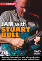 """Jam with Stuart Bull for Guitar. Lick Library. DVD. Guitar tablature. Lick Library #RDR0446. Published by Lick Library.  This superb DVD is a new and unique way to have fun, study and jam all at the same time. The DVD contains three top quality backing tracks including one rock, one blues and one ballad. The tutorial can be approached in two ways, first you can """"JAM"""" with the tracks flying solo, experimenting with different ideas, licks and solos. Alternatively you can trade solos with Stuart, drawing inspiration from the ideas and techniques used in Stuart's solos.  Each track has three performances from Stuart working across three levels of difficulty. Although the solos are improvised Stuart has taken care to go for a basic intermediate and advanced level for each track. All the solos are transcribed and are available in pdf form along with the tutorial. On screen graphics with chords and scales are provided when it's your turn to Jam. This tutorial is an exciting way to interact with Stuart while learning new licks and phrases performed in a real musical environment. This DVD is designed to be an enjoyable musical experience for everyone. Whether you shred, play soulful blues licks or both you will find this tutorial fun and inspiring. Enjoy!"""
