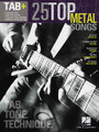 25 Top Metal Songs - Tab. Tone. Technique. (Tab+). By Various. For Guitar. Guitar Recorded Version. Softcover. Guitar tablature. 256 pages. Published by Hal Leonard.  This series includes performance notes and accurate tab for the greatest songs of every genre. From the essential gear, recording tecchniques and historical information to the right- and left-hand techniques and other playing tips – it's all here!  Learn to play 25 metal masterpieces with these note-for-note transcriptions. Songs include: Ace of Spades • Am I Evil? • Blackout • Chop Suey! • Cowboys from Hell • Freak on a Leash • Hangar 18 • Iron Man • Mr. Crowley • Psychosocial • Raining Blood • Sober • Tears Don't Fall • Unsung • and more.