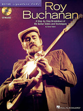"Roy Buchanan - Guitar Signature Licks (A Step-by-Step Breakdown of His Guitar Styles and Techniques). By Roy Buchanan. For Guitar. Signature Licks Guitar. Softcover with CD. Guitar tablature. 80 pages. Published by Hal Leonard.  This exclusive book/CD pack features in-depth analysis of the songs and solos that made Roy Buchanan ""The Best Unknown Guitarist in the World."" Though he never achieved stardom, Rolling Stone magazine ranked him #57 on their list of the 100 Greatest Guitarists of All Time. With this pack, you'll learn 12 of his best licks, including: After Hours • Chicago Smokeshop • Five String Blues • Hey Joe • High Wire • I Won't Tell You No Lies • The Messiah Will Come Again • Pete's Blues • Peter Gunn • Roy's Bluz • Short Fuse • Sweet Dreams."