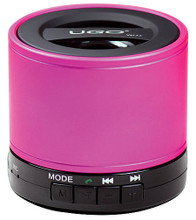 Bluetooth Wireless Mini Speaker (Pink Portable Speaker with SD Card For Playback and Radio). Hardware.Published by Hal Leonard.  If you are serious about music, this is the portable speaker for you! UGO is all about sound and versatility. With four playback modes UGO Bluetooth has the ability to deliver deep bass tones, crystal clear midranges and sparkling tenor from any audio source. This can be via Bluetooth connection or direct plug-in. With Bluetooth connectivity you can stream your music wirelessly from up to 30 feet away. Bluetooth 4.0 technology provides the fastest data transfer with the lowest energy loss creating a portable sound machine that plays for hours on a single charge. Equipped with a built-in FM radio and Micro SD card player, UGO is arguably the biggest bang for your buck in the world of portable bluetooth speakers. It comes with an unconditional 12-month warranty against defects and features six color options.