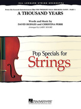 A Thousand Years (from The Twilight Saga: Breaking Dawn, Pt. 1). By Christina Perri and David Hodges. Arranged by Larry Moore. For String Orchestra (Score & Parts). Pop Specials for Strings. Grade 3-4. Published by Hal Leonard.