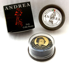 """First introduced in 2002 as Tartini Rosin, it was quickly recognized as distinct among rosins by world-renowned string players and string lovers, leading to great demand and worldwide distribution. In 2005, Andrea Bang introduced an upgraded version called """"Andrea"""", which was designed to provide even more sensitive and sophisticated sound enhancement than """"Tartini"""".  Powerful, yet sensitive sound for the soloist. It enables maximized projection and extra clear bow articulation."""