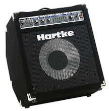 """A70 Bass Combo (1 x 12 inch. AL - 70 watts). For Bass. Hartke Equipment. General Merchandise. Hal Leonard #A70-115V. Published by Hal Leonard.  The A70 is a powerful bass combo that features a matched 12-inch aluminum bass speaker in a specially designed cabinet that can be used in a typical flat floor position or in its special """"kickback"""" position for increased high end clarity and sound dispersion. Delivering 70 watts to its 12-inch aluminum bass driver, this versatile bass combo is perfect for use in small venues or home recording studios. Plus, the CD input and dedicated headphone output make it an ideal practice amp. Also, with professional features like 7-band graphic EQ for finer tone control, a variable limiter, XLR balanced outputs, passive and active inputs and an effects loop, the A70 is as comprehensive as it is versatile."""