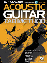 """Hal Leonard Acoustic Guitar Tab Method - Book 1 (Book with Online Audio). By Various. For Guitar. Guitar Tab Method. Softcover Audio Online. Guitar tablature. 32 pages. Published by Hal Leonard.  This is the acoustic guitar method students and teachers have been waiting for. Learn chords with songs like """"Eleanor Rigby"""" and """"Knockin' on Heaven's Door,"""" single notes with riffs and solos by Nirvana and Pink Floyd, arpeggios with classics by Eric Clapton and Boston, and much more. The method's unique, well-paced, and logical teaching sequence will get students playing more easily than ever before, and music from popular artists like the Eagles, Johnny Cash and Green Day will keep them playing and having fun. Book 1 includes: parts of the guitar, easy-to-follow guitar tablature, notes & riffs starting on the low E string, tempo & time signatures, strumming patterns and arpeggios, slides and slurs, hammer-ons and pull-offs, many music styles, nearly 100 riffs and songs, audio demos of every example, and more!  The price of this book includes access to audio tracks online, for download or streaming, using the unique code inside the book.  Online audio is accessed at halleonard.com/mylibrary"""