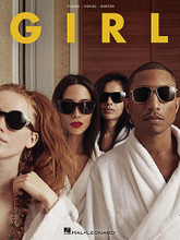"""Pharrell Williams - Girl by Pharrell. For Piano/Vocal/Guitar. Piano/Vocal/Guitar Artist Songbook. Softcover. 90 pages. Published by Hal Leonard.  Grammy® Award winning producer and artist Pharrell released this, his second solo album, in 2014. Featuring the mega-hit """"Happy"""" from Despicable Me 2, the album reached as high as #2 on the Billboard® 200 Album charts. Our matching folio includes all the tracks from the CD: Brand New (featuring Justin Timberlake) • Come Get It Bae • Gush • Gust of Wind • Happy • Hunter • It Girl • Lost Queen • Marilyn Monroe • Who You Are (featuring Alicia Keys)."""