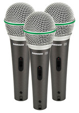 "Q6 Dynamic Supercardioid Handheld Mic (Dynamic Microphone 3-Pack). Samson Audio. General Merchandise. Samson Audio #SAQ6CL3P. Published by Samson Audio.  Offered in a convenient and cost-effective ""three-pack,"" the Q6 gives you plenty of output and performance for a variety of situations. Features include:  • 3 mics in a foam padded hard shell case  • High gain, low impedance design  • Dynamic neodymium mic element  • Super cardioid pickup pattern  • Multi-axis shock mounted element  • On/off Switch  • Hard shell carry case for 3 mics (mic clips included)."