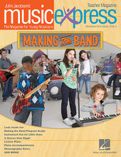 Making the Band Vol. 13 No. 5 (March/April 2013). By Bon Jovi and Les Paul. By Claude Bolling, John Jacobson, and Roger Emerson. Arranged by Emily Crocker and John Higgins. PREMIUM COMPLETE PAK. Music Express. Published by Hal Leonard.  Songs: Making the Band, Livin' on a Prayer, Arirang, Let It Grow (Celebrate the World) (from The Lorax), The Boatman, Musical Planet: Korea, Spotlight on Les Paul's House of Sound, Listening: Baroque and Blue (Claude Bolling). Teacher Magazine includes Lesson Plans correlated to the National Standards plus more songs and activities, and 1 Enhanced Audio CD that includes PDFs of selected material. Digital and Premium Paks include and Interactive Student Magazine on DVD-ROM for projection in the music classroom.