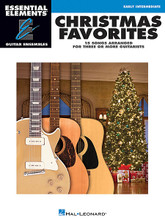Christmas Favorites (Essential Elements Guitar Ensembles Late Beginner Level). Composed by Various. For Guitar Ensemble. Essential Elements Guitar. Softcover. 32 pages. Published by Hal Leonard.  The songs in the Hal Leonard Essential Elements® Guitar Ensembles series are playable by multiple guitars. Each arrangement features the melody (lead), a harmony part, and a bass line. Chord symbols are also provided if you wish to add a rhythm part. For groups with more than three or four guitars, the parts may be doubled. All of the songs are printed on two facing pages so no page turns are required. This series is perfect for classroom guitar ensembles or other group guitar settings.  15 songs are included in this collection for late beginner level guitarists: All I Want for Christmas Is My Two Front Teeth • Feliz Navidad • Have Yourself a Merry Little Christmas • (There's No Place Like) Home for the Holidays • I Saw Mommy Kissing Santa Claus • It's Beginning to Look like Christmas • The Little Drummer Boy • Little Saint Nick • Merry Christmas, Darling • The Most Wonderful Time of the Year • Silver and Gold • Sleigh Ride • Somewhere in My Memory • White Christmas • Winter Wonderland.