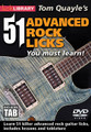 Tom Quayle's 51 Advanced Rock Licks You Must Learn! for Guitar. Lick Library. DVD. Guitar tablature. Lick Library #RDR0452. Published by Lick Library.  Take your rock playing to the next level and learn some cutting edge licks to help you stand out from the crowd! Tom Quayle will teach you 51 essential advanced rock licks that are designed to give you the latest and greatest techniques, phrasing and rhythmic skills. Tom covers all modern techniques including legato, tapping, alternate and economy picking for some of the most impressive and useful licks you'll ever learn! This DVD will give you an excellent insight into developing your playing, and at the same time adding 51 killer licks to your repertoire.