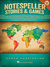 Notespeller Stories & Games - Book 1 (Around the World). For Piano/Keyboard. Educational Piano Library. Softcover. Published by Hal Leonard.  For generations of music students, notespellers have played an essential role in helping students gain confidence with note reading skills. Notespeller Stories & Games – Around the World created by Karen Harrington, author of the Hal Leonard Student Piano Library Notespellers and The Piano Teacher's Resource Kit, has done it again with this new blockbuster resource for all music students! Students will love the colorful artwork, activities, games and stories she has created and both teachers and students just might learn more interesting facts from around the globe in the process!