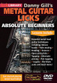 Danny Gill's Metal Guitar Licks (Absolute Beginners Series). For Guitar. Lick Library. DVD. Lick Library #RDR0471. Published by Lick Library.  This superb DVD includes a selection of easy to absorb lessons that are designed to teach the beginner guitarist some of the essential basics of metal lead guitar playing. In this DVD course, Danny walks you through a collection of 35 licks and associated techniques to get you wailing like Kirk Hammett or Dave Mustaine in no time at all. Featuring everything from unison bends, alternate picking, legato, tapping and more, Danny also takes you through scale choices and even getting a good tone so you can go from zero to hero in no time at all, but all handled in a manner that players of limited experience will have no trouble keeping up.