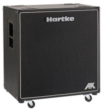 AK410 (Bass Cabinet). Hartke Equipment. General Merchandise. Hartke Equipment #HCA410. Published by Hartke Equipment.  Hartke revisits the traditional paper cone driver with the new AK series of bass cabinets. These cabs offer exceptionally warm tone, natural coloration and awesome power thanks to their custom crafted paper cone drivers and specially designed enclosures.  We're known for innovation and tone, so we're adding the Hartke touch to the classic paper cone driver to keep our line of cabinets as diverse and widely appealing as possible. We designed the new AK series to deliver awesome power and terrific tone for all those paper cone loyalists. AKs are killer cabinets that give you a classic rock tone that you can rely on night after night.  The AK410 houses four 10″ 125 watt paper cone drivers for 500 watts of total power handling. These remarkable drivers ensure those deep low frequencies push through with power and clarity. For enhanced performance on the top end, the AK410 also employs a 1″ titanium compression driver, effectively rounding out the full range of tonal dimensions that can be produced by the bass guitar. The cabinet also provides both parallel Speakon® and 1/4″ inputs for true connecting convenience.  The AK410 has the perfect enclosure to aid in proper dispersion and complement the sound of its speakers. Its dual-chamber, sealed cabinet design was specifically engineered to extend low frequencies and provide better bass projection, ensuring all the power and tone of the paper drivers is dispersed with great precision and articulation. Plus, with its rugged construction and removable casters, the AK410 is built tough and ready for the road.