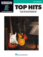 Top Hits (Essential Elements Guitar Ensembles - Early Intermediate Level). By Various. For Guitar Ensemble. Essential Elements Guitar. Softcover. 32 pages. Published by Hal Leonard.  The songs in Hal Leonard's Essential Elements Guitar Ensemble Series are playable by multiple guitars. Each arrangement features the melody (lead), a harmony part, and a bass line. Chord symbols are also provided if you wish to add a rhythm part. For groups with more than three or four guitars, the parts may be doubled. Play all of the parts together, or record some of the parts and play the remaining part along with your recording. All of the songs are printed on two facing pages; no page turns are required. This series is perfect for classroom guitar ensembles or other group guitar settings. This folio features 15 favorites: Blurred Lines • Get Lucky • Happy • Ho Hey • Home • Let Her Go • Let It Go • Locked Out of Heaven • Radioactive • Roar • Royals • Say Something • Skyfall • Some Nights • A Thousand Years.