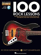 100 Rock Lessons (Bass Lesson Goldmine Series). For Bass. Bass Instruction. Softcover Audio Online. Guitar tablature. 208 pages. Published by Hal Leonard.  Expand your bass knowledge with the Bass Lesson Goldmine series! Featuring 100 individual modules covering a giant array of topics, each lesson in this Rock volume includes detailed instruction with playing examples presented in standard notation and tablature. You'll also get extremely useful tips, scale diagrams, chord grids, photos, and more to reinforce your learning experience plus 2 audio CDs featuring performance demos of all the examples in the book!  This volume covers a huge variety of rock bass styles, techniques, and concepts are covered, including: first position notes; basic fingerstyle; basic slapping; fingerstyle rakes; drop D tuning; memorizing the fretboard; arpeggios; harmonics; Paul McCartney style; John Entwistle style; Geddy Lee style; Billy Sheehan style; Flea style; gallop rhythm; tapping; techno bass; walking; where to pick; and much more!