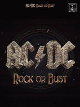 AC/DC (Rock or Bust). By AC/DC. For Guitar. Guitar Personality. Softcover. 112 pages. Music Sales #AM1010328. Published by Music Sales.  One of the most monumental rock bands ever, AC/DC, return with their 15th album, Rock Or Bust, the first without founding member and rhythm guitarist Malcolm Young. This matching folio features accurate arrangements of all 11 songs, including the lead single Play Ball, for guitar tab with full lyrics.  Ever since bursting onto our airwaves in the 1970s, Australian group AC/DC have brought their unique brand of foot-stomping, power-chord-strumming hard rock to international acclaim. This book of AC/DC guitar tabs features every anthemic tune from their album Rock Or Bust, including Play Ball, Rock Or Bust and Dogs Of War.  AC/DC immediately won the hearts of rock fans across the globe with a winning formula, straight-up rock drumming, powerfully catchy riffs from guitarist brothers Angus and Malcolm Young, and some gravity-defyingly high vocals from lead singer Bon Scott, whose duties were taken over by Brian Williams, who appears on this album at almost 70 years old, his vocal performance as powerful here as it was on their seminal 1980 album Back In Black.  The real main ingredient of AC/DC's recipe, though is the guitar-work of Angus Young, often named as one of the greatest ever, and with our Rock Or Bust guitar tabs, you can learn each chunky riff and every one of those Marshall-flavoured licks exactly as Young plays them on the record. Featuring blues-inspired riffs, power-chords galore and solos that rival any other rock band, the guitar work on Rock Or Bust is not just your run-of-the-mill rock guitar. If you are looking for a masterclass in constructing riffs, playing face-melting solos, or simply great hard rock playing, these AC/DC guitar tabs will certainly help you with that.  For fans of AC/DC's undoubtedly successful formula of driving rhythms, rocking riffs and innuendo-laden lyrics, this Rock Or Bust guitar tab book will satisfy your desire for more blues-rock and even more of that unmistakeable sound of Angus Young's Gibson SG through a Marshall stack. Critics are loving listening to this album, and we're sure you'll love playing it.