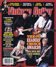 "Vintage Guitar Magazine April 2015 VINTAGE GUITAR. 128 pages. Published by Hal Leonard.  Vintage Guitar – April 2015 Cover Stories: The VG Readers' Choice Awards: Winter, Burton, Smith, Clapton, Bonamassa • '31 Martin OM-18P • '57 Fender Precision Bass • Sound City L/B 120 Mark IV • Butch Walker Hummingbirds and Ghosts • Mike Rutherford • Julian Lage • Eric Krasno • Jeff ""Jabo"" Bihlman • Nili Brosh • 1900: Gibson Vs. the World • Fretprints: Jerry Walker • Tuning Your Tone • Alvarez-Yairi CY116 • 9 Gear Reviews! Blackbird Guitars Lucky 13, Orange TH-30, Real McCoy wah pedals, Durham Electronics ReddVerb, Epiphone 1966 SG-400 PRO, GizmoAudio Ripsaw/Sawmill Jr."