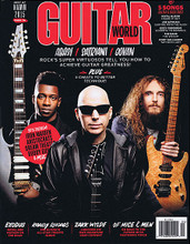 Guitar World Magazine April 2015 Guitar World Magazine. 162 pages. Published by Hal Leonard.  Guitar World –April 2015 Cover Stories: Abasi / Satriani / Govan: Rock's Super Virtuosos Tell You How to Achieve Guitar Greatness! • Plus: 5 Cheats to Better Technique! • Exodus, Metal and Mayhem on the Road • Randy Rhoads, The Ultimate All-Star Tribute Album • Zakk Wylde Launches His Own Signature Gear Company • Of Mice & Men Go Back to the Future With Restoring Force • Best of NAMM 2015 • 5 Songs: Guitar & Bass Tabs! Royal Blood Figure It Out Joe Satriani Surfing With the Alien Ozzy Osbourne Goodbye to Romance The Band The Weight Rory Gallagher Tattoo'd Lady • 2015 Preview: Iron Maiden, Aristocrats, Dream Theater, Buddy Guy & More.