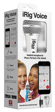 iRig Voice Mic (White). Hardware. General Merchandise. IK Multimedia #IRIGMICVOYIN. Published by IK Multimedia.  iRig Voice is a new handheld vocal microphone designed for iPhone, iPod touch and iPad. Compatible with all of today's top music apps, like Glee! Karaoke, LaDiDa, Karaoke Anywhere, and dozens more, iRig Voice turns your Apple device into a never-ending karaoke machine or vocal-recording studio. Get started fast with the included EZ VOICE app, which lets you sing along with music from your music library, add professional-grade vocal FX, including reverb, chorus and pitch correction. Based on IK's acclaimed VocaLive app, EZ VOICE lets you remove the vocals from your favorite songs with just a single button, and even record yourself to share online!