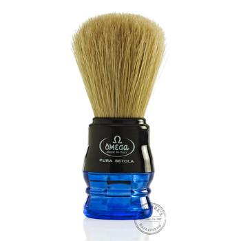 Omega #10077 Pure Bristle Shaving Brush in Blue