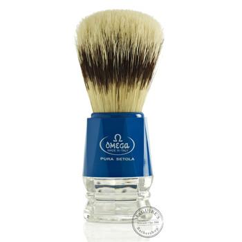 Omega #10218 Pure Bristle Shaving Brush in Blue