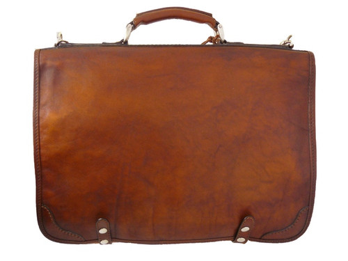 Ammannati: Bruce Range Collection – Italian Leather Flap-over Business Messenger  Bag in- Brown front view
