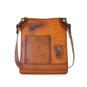 Bakem: Bruce Range Collection – Medium Italian Calf Leather Cross-body Bag in - Cognac