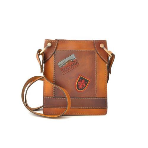 Bakem: Bruce Range Collection: Mini Italian Calf Leather Cross-body Bag in- Cognac