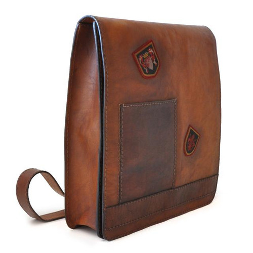 The Messenger: Bruce Range Collection – Full-size Italian Calf Flap Cross-body Bag in Brown- Side View