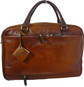 Montalcino: Bruce Range Collection – Single Compartment Italian Calf Leather Briefcase in - Brown Back View