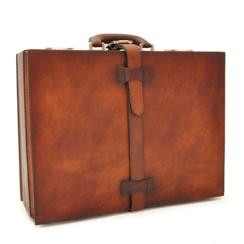 Taormina: Bruce Range Collection – Italian Calf Leather Top-Handle Briefcase in - Brown Main View