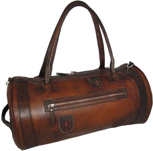 Nordkapp: Bruce Range Collection – Italian Calf Leather Duffel Bag in - Brown Main view