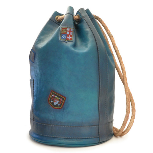 Patagonia: Bruce Range Collection: Italian Calf Leather Single Compartment Rope Handle Backpack in- Blue