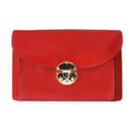 Tullia d'Aragona: Radica Range Collection – Italian Calf Leather Cross body Clutch in Cherry