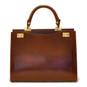 Anna Maria Luisa: Radica Range Collection – Large Italian Calf Leather Top Handle Handbag in Nutella