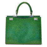 Anna Maria Luisa: Radica Range Collection – Large Italian Calf Leather Top Handle Handbag in Green