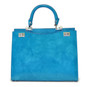 Anna Maria Luisa: Radica Range Collection – Large Italian Calf Leather Top Handle Handbag in Sky Blue